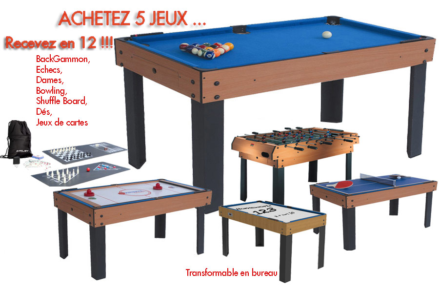table multi jeux 12 en 1 billard baby foot air hockey ping pong. Black Bedroom Furniture Sets. Home Design Ideas